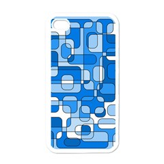 Blue Decorative Abstraction Apple Iphone 4 Case (white) by Valentinaart