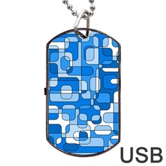 Blue Decorative Abstraction Dog Tag Usb Flash (one Side) by Valentinaart
