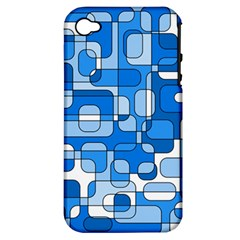 Blue Decorative Abstraction Apple Iphone 4/4s Hardshell Case (pc+silicone) by Valentinaart