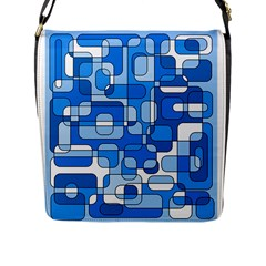 Blue Decorative Abstraction Flap Messenger Bag (l)  by Valentinaart