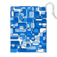 Blue Decorative Abstraction Drawstring Pouches (xxl) by Valentinaart