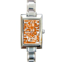 Orange Decorative Abstraction Rectangle Italian Charm Watch by Valentinaart