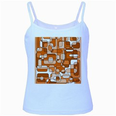 Orange Decorative Abstraction Baby Blue Spaghetti Tank