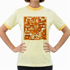 Orange Decorative Abstraction Women s Fitted Ringer T Shirts by Valentinaart