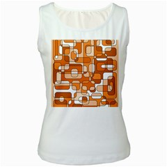 Orange Decorative Abstraction Women s White Tank Top by Valentinaart