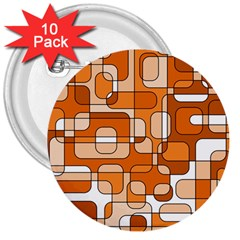 Orange Decorative Abstraction 3  Buttons (10 Pack)  by Valentinaart
