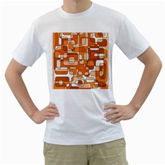 Orange Decorative Abstraction Men s T Shirt (white) (two Sided)