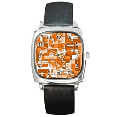 Orange Decorative Abstraction Square Metal Watch by Valentinaart