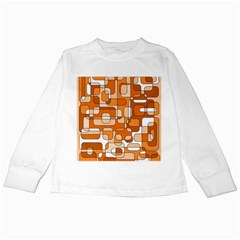 Orange Decorative Abstraction Kids Long Sleeve T Shirts by Valentinaart
