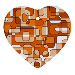 Orange Decorative Abstraction Heart Ornament (2 Sides) by Valentinaart