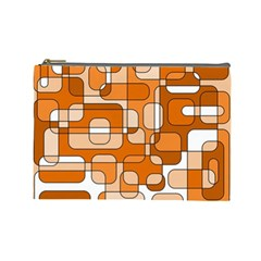 Orange Decorative Abstraction Cosmetic Bag (large)  by Valentinaart