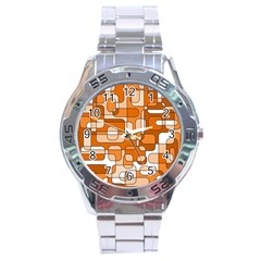Orange Decorative Abstraction Stainless Steel Analogue Watch by Valentinaart