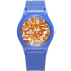 Orange Decorative Abstraction Round Plastic Sport Watch (s) by Valentinaart