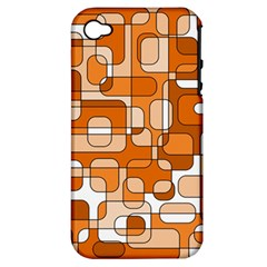 Orange Decorative Abstraction Apple Iphone 4/4s Hardshell Case (pc+silicone) by Valentinaart