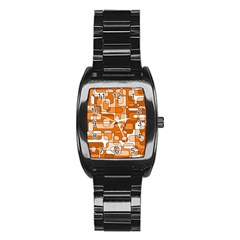 Orange Decorative Abstraction Stainless Steel Barrel Watch by Valentinaart