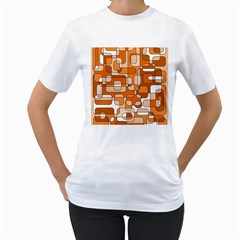 Orange Decorative Abstraction Women s T-shirt (white)  by Valentinaart