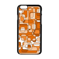 Orange Decorative Abstraction Apple Iphone 6/6s Black Enamel Case by Valentinaart