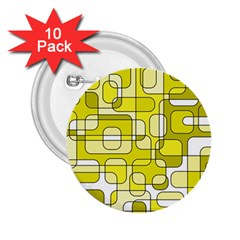 Yellow Decorative Abstraction 2 25  Buttons (10 Pack)  by Valentinaart