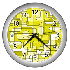 Yellow Decorative Abstraction Wall Clocks (silver)  by Valentinaart