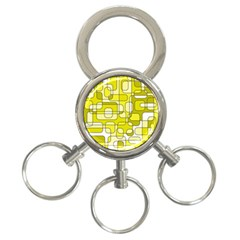 Yellow Decorative Abstraction 3 Ring Key Chains by Valentinaart