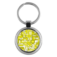 Yellow Decorative Abstraction Key Chains (round)  by Valentinaart