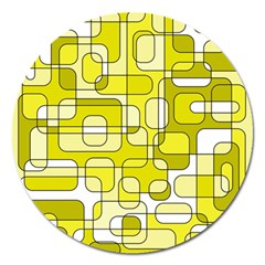 Yellow Decorative Abstraction Magnet 5  (round) by Valentinaart