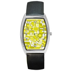 Yellow Decorative Abstraction Barrel Style Metal Watch by Valentinaart