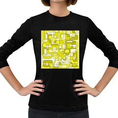 Yellow Decorative Abstraction Women s Long Sleeve Dark T Shirts by Valentinaart