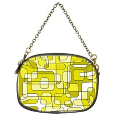 Yellow Decorative Abstraction Chain Purses (two Sides)  by Valentinaart
