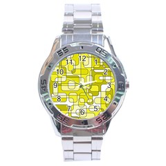 Yellow Decorative Abstraction Stainless Steel Analogue Watch by Valentinaart