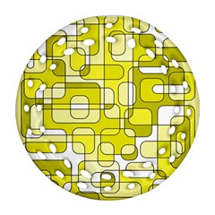 Yellow Decorative Abstraction Round Filigree Ornament (2side) by Valentinaart