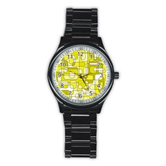 Yellow Decorative Abstraction Stainless Steel Round Watch by Valentinaart