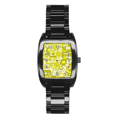 Yellow Decorative Abstraction Stainless Steel Barrel Watch by Valentinaart