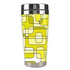 Yellow Decorative Abstraction Stainless Steel Travel Tumblers by Valentinaart