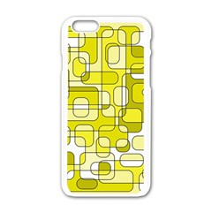 Yellow Decorative Abstraction Apple Iphone 6/6s White Enamel Case by Valentinaart