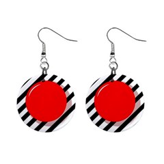 Red Ball Mini Button Earrings by Valentinaart