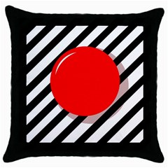 Red Ball Throw Pillow Case (black) by Valentinaart