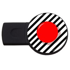 Red Ball Usb Flash Drive Round (4 Gb)  by Valentinaart