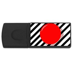 Red Ball Usb Flash Drive Rectangular (4 Gb)  by Valentinaart