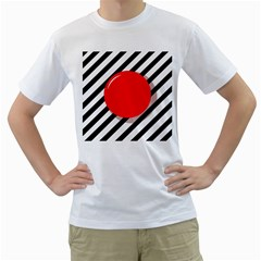 Red Ball Men s T Shirt (white)  by Valentinaart