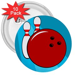 Bowling  3  Buttons (10 Pack)  by Valentinaart