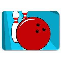 Bowling  Large Doormat  by Valentinaart