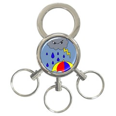 Rainy Day 3 Ring Key Chains by Valentinaart