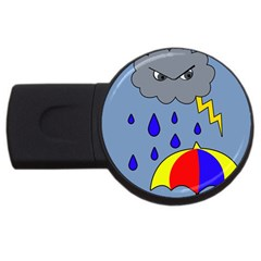 Rainy Day Usb Flash Drive Round (4 Gb)  by Valentinaart