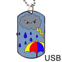 Rainy Day Dog Tag Usb Flash (one Side) by Valentinaart
