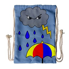 Rainy Day Drawstring Bag (large) by Valentinaart