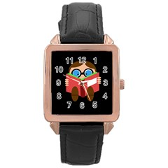 Brainiac  Rose Gold Leather Watch  by Valentinaart