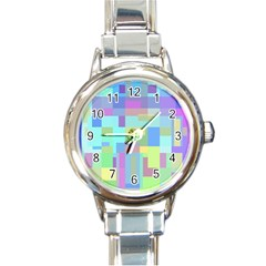 Pastel Geometrical Desing Round Italian Charm Watch by Valentinaart