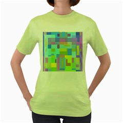 Pastel Geometrical Desing Women s Green T Shirt by Valentinaart