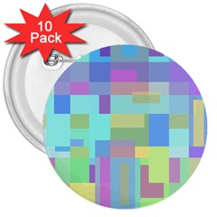 Pastel Geometrical Desing 3  Buttons (10 Pack)  by Valentinaart
